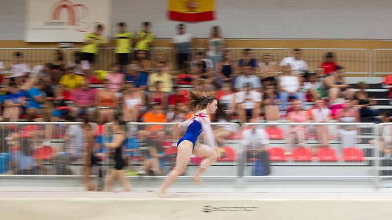 Gymnast running on tumbling